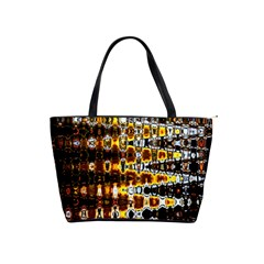 Bright Yellow And Black Abstract Shoulder Handbags