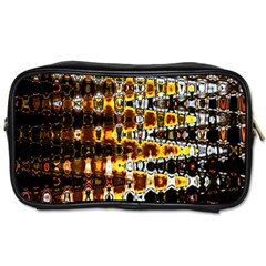 Bright Yellow And Black Abstract Toiletries Bags