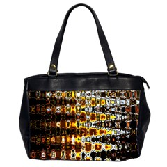 Bright Yellow And Black Abstract Office Handbags (2 Sides)