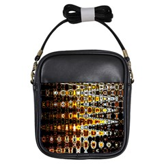 Bright Yellow And Black Abstract Girls Sling Bags
