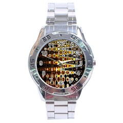Bright Yellow And Black Abstract Stainless Steel Analogue Watch