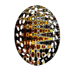Bright Yellow And Black Abstract Oval Filigree Ornament (Two Sides)