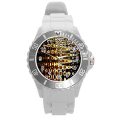 Bright Yellow And Black Abstract Round Plastic Sport Watch (L)