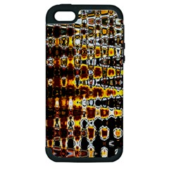 Bright Yellow And Black Abstract Apple Iphone 5 Hardshell Case (pc+silicone)