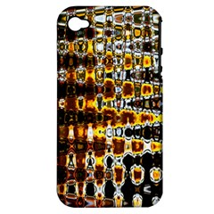 Bright Yellow And Black Abstract Apple iPhone 4/4S Hardshell Case (PC+Silicone)