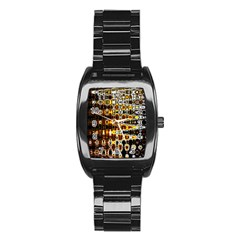 Bright Yellow And Black Abstract Stainless Steel Barrel Watch