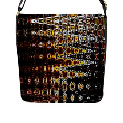 Bright Yellow And Black Abstract Flap Messenger Bag (l)