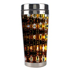 Bright Yellow And Black Abstract Stainless Steel Travel Tumblers