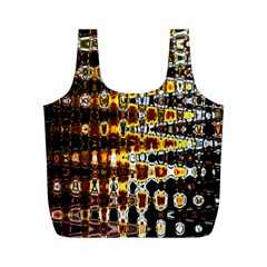 Bright Yellow And Black Abstract Full Print Recycle Bags (m)