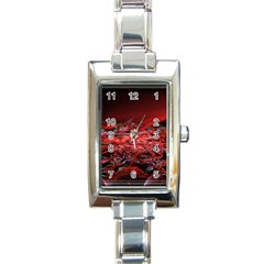 Red Fractal Valley In 3d Glass Frame Rectangle Italian Charm Watch