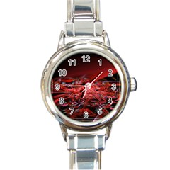 Red Fractal Valley In 3d Glass Frame Round Italian Charm Watch