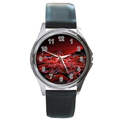 Red Fractal Valley In 3d Glass Frame Round Metal Watch