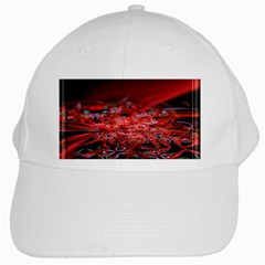 Red Fractal Valley In 3d Glass Frame White Cap