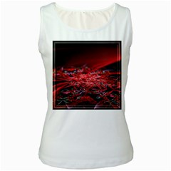 Red Fractal Valley In 3d Glass Frame Women s White Tank Top
