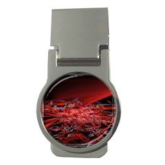 Red Fractal Valley In 3d Glass Frame Money Clips (Round)