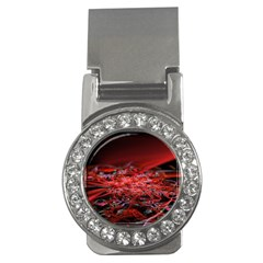 Red Fractal Valley In 3d Glass Frame Money Clips (cz)