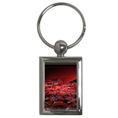 Red Fractal Valley In 3d Glass Frame Key Chains (rectangle)