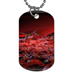 Red Fractal Valley In 3d Glass Frame Dog Tag (one Side)