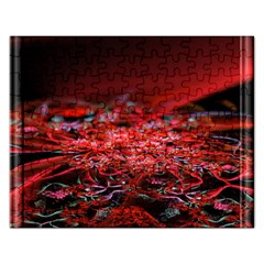 Red Fractal Valley In 3d Glass Frame Rectangular Jigsaw Puzzl
