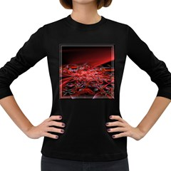 Red Fractal Valley In 3d Glass Frame Women s Long Sleeve Dark T Shirts