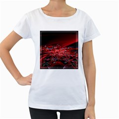 Red Fractal Valley In 3d Glass Frame Women s Loose Fit T Shirt (white)