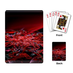 Red Fractal Valley In 3d Glass Frame Playing Card