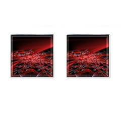 Red Fractal Valley In 3d Glass Frame Cufflinks (Square)