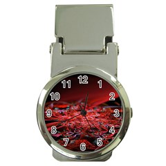 Red Fractal Valley In 3d Glass Frame Money Clip Watches