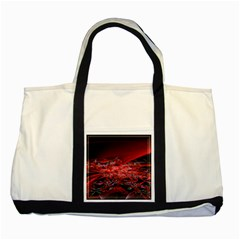 Red Fractal Valley In 3d Glass Frame Two Tone Tote Bag