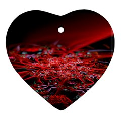 Red Fractal Valley In 3d Glass Frame Heart Ornament (Two Sides)