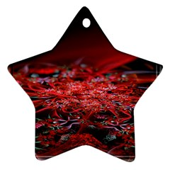 Red Fractal Valley In 3d Glass Frame Star Ornament (Two Sides)