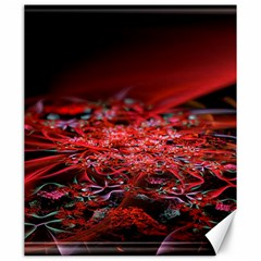 Red Fractal Valley In 3d Glass Frame Canvas 20  X 24