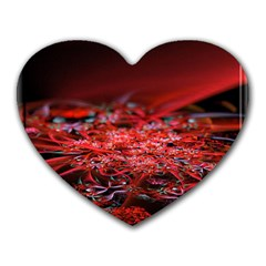 Red Fractal Valley In 3d Glass Frame Heart Mousepads