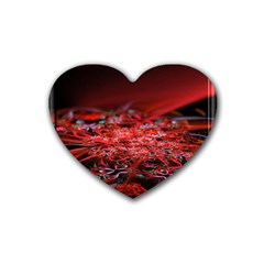 Red Fractal Valley In 3d Glass Frame Heart Coaster (4 Pack)
