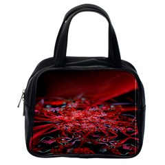Red Fractal Valley In 3d Glass Frame Classic Handbags (One Side)