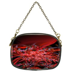 Red Fractal Valley In 3d Glass Frame Chain Purses (Two Sides)