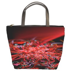 Red Fractal Valley In 3d Glass Frame Bucket Bags