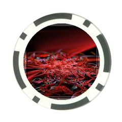 Red Fractal Valley In 3d Glass Frame Poker Chip Card Guard (10 pack)