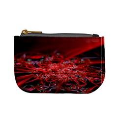 Red Fractal Valley In 3d Glass Frame Mini Coin Purses