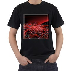 Red Fractal Valley In 3d Glass Frame Men s T-Shirt (Black)