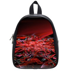 Red Fractal Valley In 3d Glass Frame School Bags (Small)