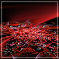 Red Fractal Valley In 3d Glass Frame Magic Photo Cubes