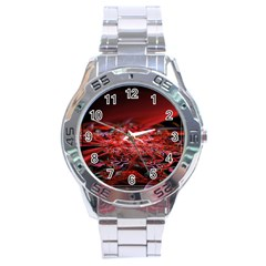 Red Fractal Valley In 3d Glass Frame Stainless Steel Analogue Watch
