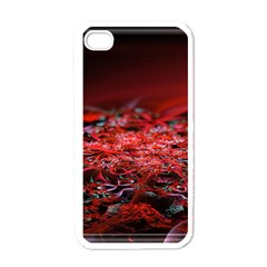 Red Fractal Valley In 3d Glass Frame Apple Iphone 4 Case (white)