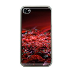 Red Fractal Valley In 3d Glass Frame Apple iPhone 4 Case (Clear)