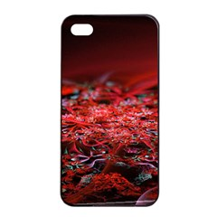 Red Fractal Valley In 3d Glass Frame Apple iPhone 4/4s Seamless Case (Black)