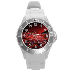 Red Fractal Valley In 3d Glass Frame Round Plastic Sport Watch (l)