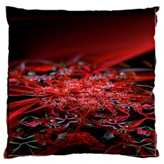 Red Fractal Valley In 3d Glass Frame Large Cushion Case (One Side)
