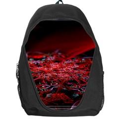 Red Fractal Valley In 3d Glass Frame Backpack Bag