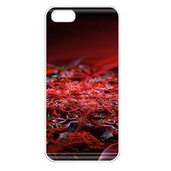Red Fractal Valley In 3d Glass Frame Apple Iphone 5 Seamless Case (white)